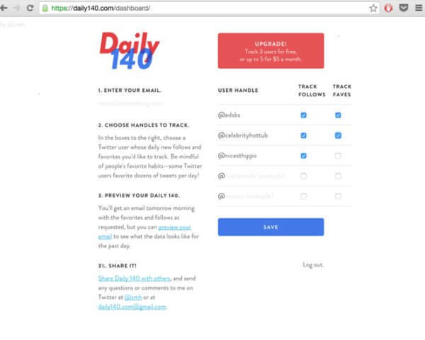 daily 140 Twitter tool